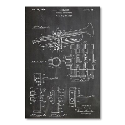 Americanflat Trumpet by House of Borders Graphic Art in Grey