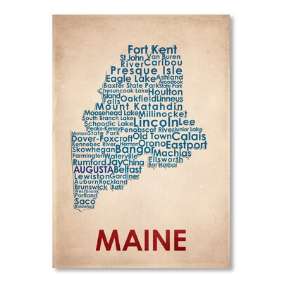 Americanflat Maine Typography Wrapped on Canvas