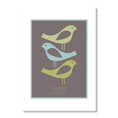Americanflat Three Little Birds Brown by Liz Lyons Graphic Art on Canvas