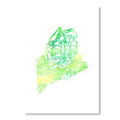Americanflat Maine by Crystal Capritta Typography Wrapped on Canvas
