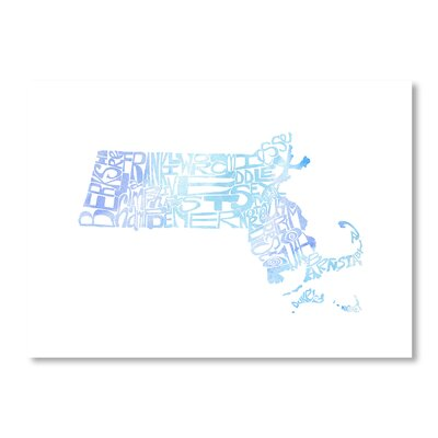 Americanflat Massachusetts Water by Crystal Capritta Typography Wrapped on Canvas