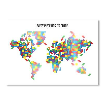 Americanflat Tetris World Map by Patricia Pino Graphic Art Wrapped on Canvas