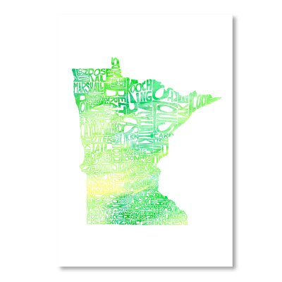 Americanflat Minnesota by Crystal Capritta Typography Wrapped on Canvas