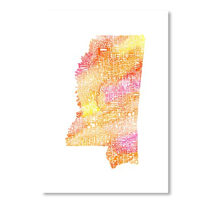 Americanflat Mississippi by Crystal Capritta Typography Wrapped on Canvas in Orange