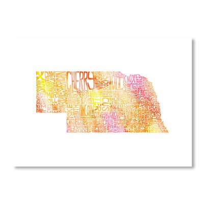 Americanflat Nebraska by Crystal Capritta Typography Wrapped on Canvas