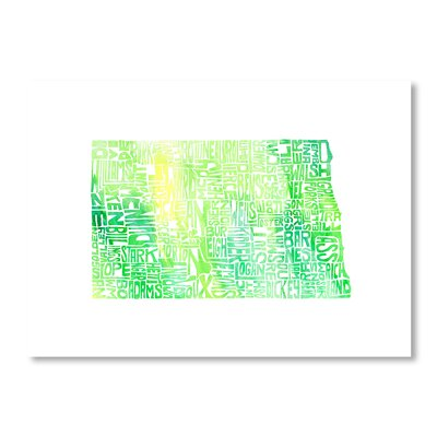 Americanflat North Dakota by Crystal Capritta Typography Wrapped on Canvas