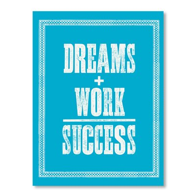 Americanflat Dreams Plus Work Equals Success by Brett Wilson Typography Wrapped on Canvas