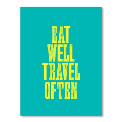 Americanflat Eat Well Travel Often by Brett Wilson Typography in Turquoise