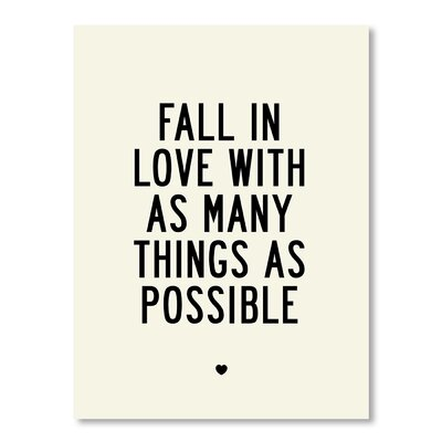 Americanflat Fall In Love Typography Wrapped on Canvas