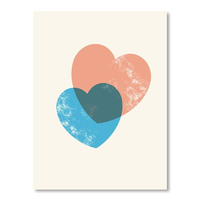 Americanflat Combining Hearts Graphic Art Wrapped on Canvas