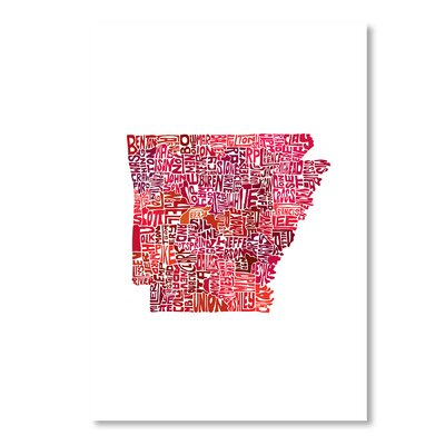 Americanflat Arkansas by Crystal Capritta Graphic Art in Red
