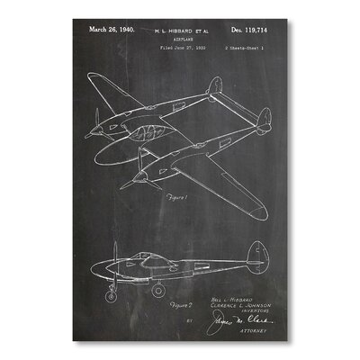 Americanflat P 38 Plane by House of Borders Graphic Art in Grey