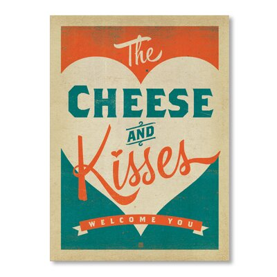 Americanflat Cheese and Kisses by Anderson Design Group Typography Wrapped on Canvas