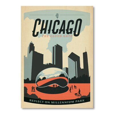 Americanflat Chicago 1008 by Anderson Design Group Vintage Advertisement Wrapped on Canvas