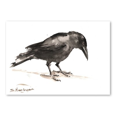 Americanflat Crow by Suren Nersisyan Art Print in Grey