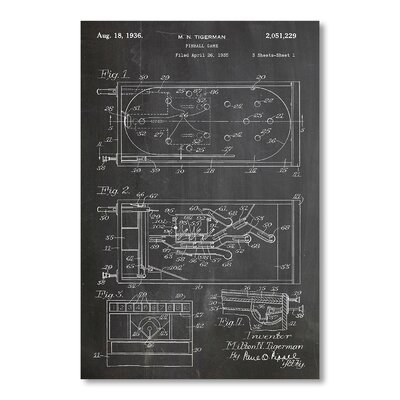 Americanflat Pinball by House of Borders Graphic Art in Grey