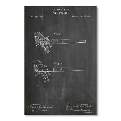 Americanflat Pipe Wrench by House of Borders Graphic Art in Grey