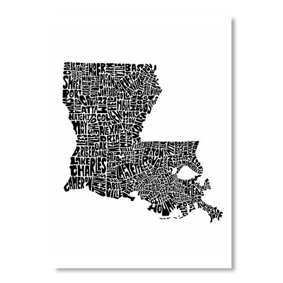 Americanflat Louisiana by Joe Brewton Typography Wrapped on Canvas