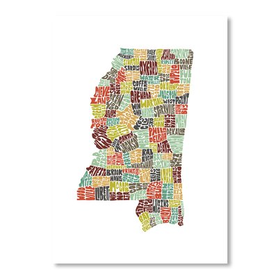 Americanflat Mississippi by Joe Brewton Typography Wrapped on Canvas