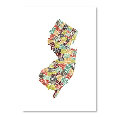 Americanflat New Jersey by Joe Brewton Typography on Canvas