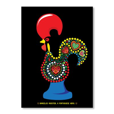 Americanflat Portuguese Rooster by Patricia Pino Graphic Art in Black