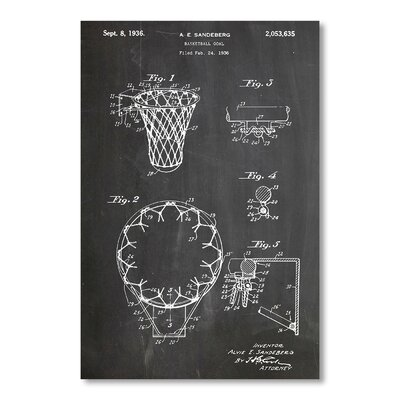 Americanflat Basketball Goal 1936 by House of Borders Graphic Art in Grey