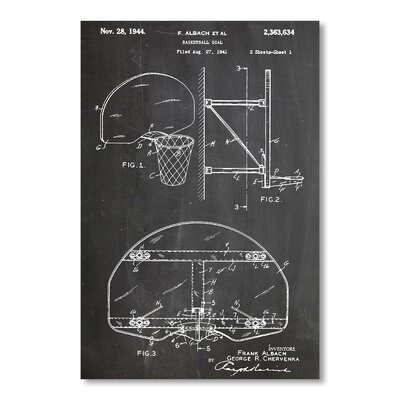 Americanflat Basketball Goal 1941 by House of Borders Graphic Art in Grey