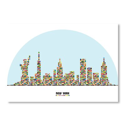 Americanflat NY City Skyline by Patricia Pino Graphic Art in Blue