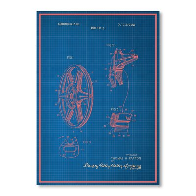 Americanflat Film Reel Blue Print Graphic Art Wrapped on Canvas