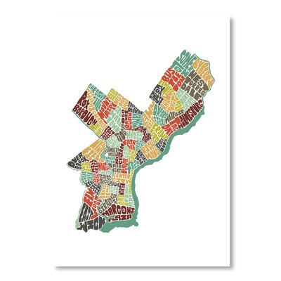 Americanflat Philadelphia by Joe Brewton Typography Wrapped on Canvas