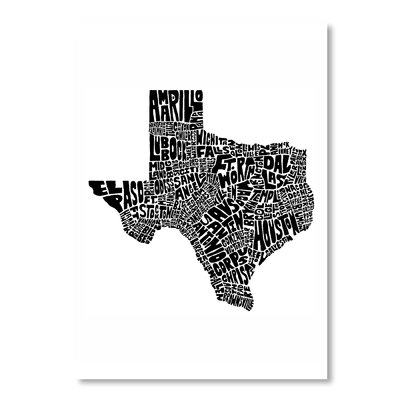 Americanflat Texas by Joe Brewton Typography Wrapped on Canvas
