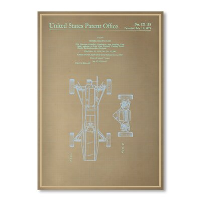 Americanflat Model Racing Car I Blue Print Graphic Art Wrapped on Canvas