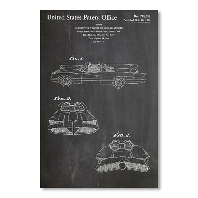 Americanflat Batmobile 1966 by House of Borders Graphic Art in Grey