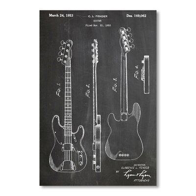Americanflat Fender Bass Guitar by House of Borders Graphic Art in Grey