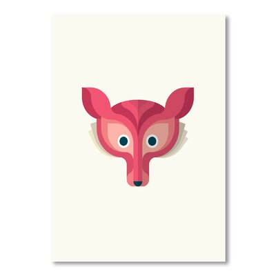 Americanflat Fox Print Art by Christian Jackson Graphic Art in Pink
