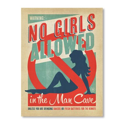 Americanflat No Girls Allowed, Man Cave Vintage Advertisement Wrapped on Canvas