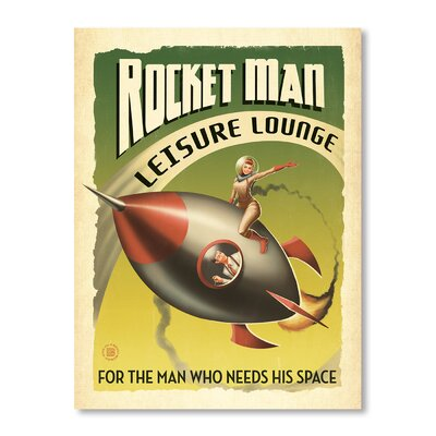 Americanflat Rocket Man by Man Cave Vintage Advertisement Wrapped on Canvas