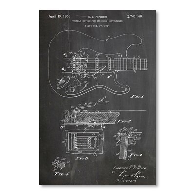 Americanflat Fender Guitar Sideways by House of Borders Graphic Art