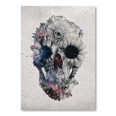 Americanflat Floral Skull II by Ali Gulec Graphic Art in Grey