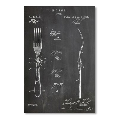 Americanflat Fork by House of Borders Graphic Art in Grey