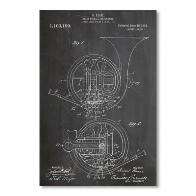 Americanflat French Horn by House of Borders Graphic Art in Grey