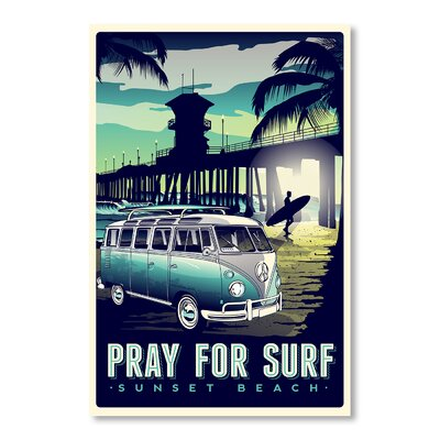 Americanflat Pray for Surf by Matthew Schnepf Vintage Advertisement Wrapped on Canvas