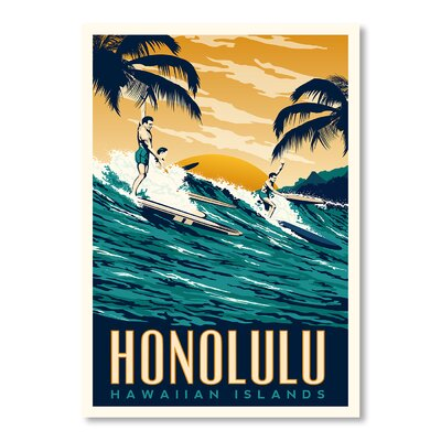 Americanflat Honolulu by Matthew Schnepf Vintage Advertisement Wrapped on Canvas