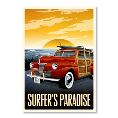 Americanflat Surfer's Paradise by Matthew Schnepf Vintage Advertisement Wrapped on Canvas