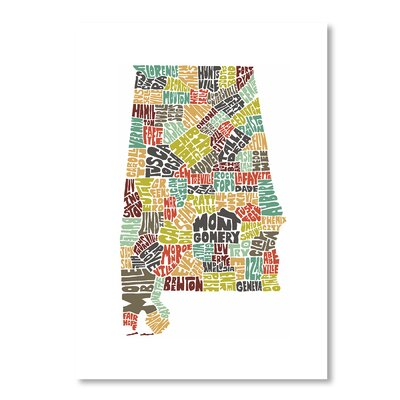 Americanflat Alabama by Joe Brewton Typography Wrapped on Canvas