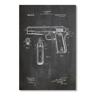 Americanflat Colt 45 by House of Borders Graphic Art in Grey