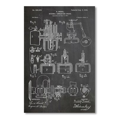 Americanflat Diesel Motor by House of Borders Graphic Art in Grey