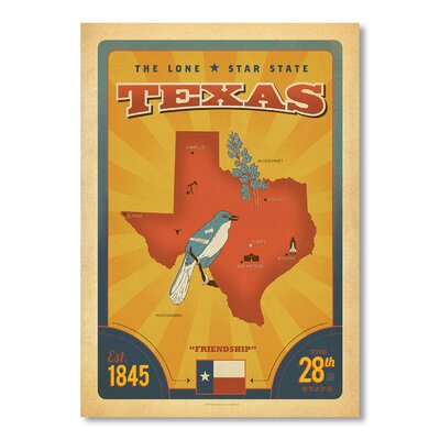 Americanflat State Pride Texas by Anderson Design Group Vintage Advertisement Wrapped on Canvas