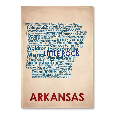 Americanflat Arkansas Typography Wrapped on Canvas