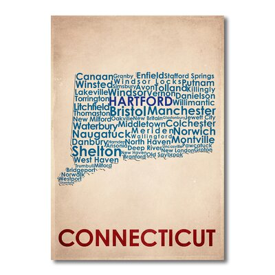 Americanflat Connecticut Typography Wrapped on Canvas